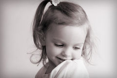 Little baby girl. Portrait of a little baby girl. Black and white Royalty Free Stock Images