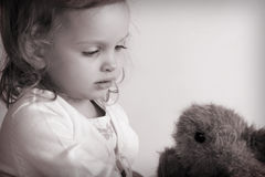 Little baby girl. Portrait of a little baby girl. Black and white Stock Images