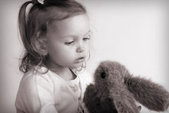 Little baby girl. Portrait of a little baby girl. Black and white Stock Photo