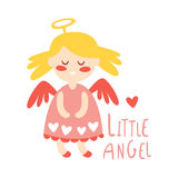 Little baby girl angel. Colorful hand drawn vector Illustration Stock Image
