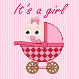 Little baby girl in the baby carriage Royalty Free Stock Photo