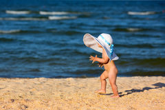 Little baby girl on the beach Royalty Free Stock Photo