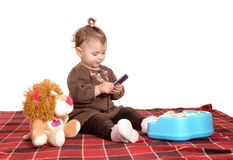 Little baby girl on blanket. Royalty Free Stock Images