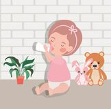 Little baby girl with bottle milk and stuffed toys character. Vector illustration design stock illustration