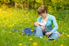 Little Baby Girl Breast Feeding Royalty Free Stock Images