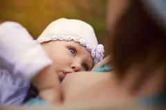 Little baby girl breast feeding Royalty Free Stock Photos