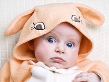 Little baby girl in bunny costume Royalty Free Stock Photography