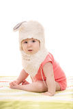Little baby girl with bunny hat Stock Images
