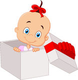 Little baby girl cartoon inside open gift box Royalty Free Stock Images