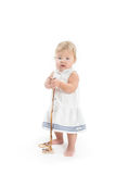 Little baby girl with chaplet royalty free stock photography