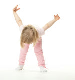 Little baby girl doing sport exercises Royalty Free Stock Photos