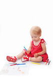 Little baby girl drawing at her album Royalty Free Stock Photo