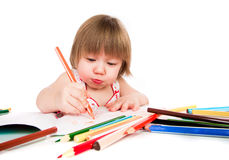 Little baby girl draws pencil Royalty Free Stock Photo