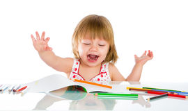 Little baby girl draws pencil Royalty Free Stock Photos