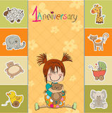 Little baby girl on the first anniversary. Little girl on the first anniversary Royalty Free Stock Images