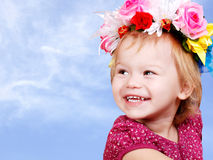 Little baby girl in flower crown Stock Photography
