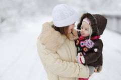 Little baby girl and her mother Stock Image