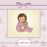 Little baby girl with her teddy toy Royalty Free Stock Image