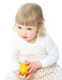 Little baby girl holding lemon Stock Photography