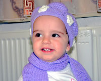 Little baby girl with knitted hat Royalty Free Stock Photo
