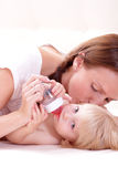 Little baby girl and mother Royalty Free Stock Photos
