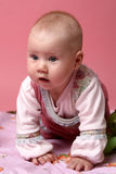 Little baby girl on pink background Royalty Free Stock Photography