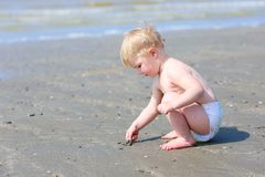 Little baby girl playing on the beach Stock Photography