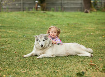 The little baby girl playing with dog against green grass Stock Photography