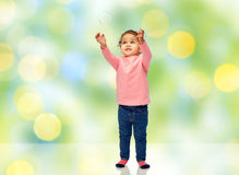 Little baby girl playing with soap bubble Royalty Free Stock Images