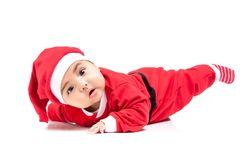 Little  baby girl  in red Christmas clothes. Stock Images