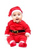 Little  baby girl  in red Christmas clothes. Stock Image