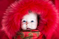 Little baby girl in a red fur jacket Stock Photos