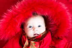 Little baby girl in a red fur jacket Royalty Free Stock Photography
