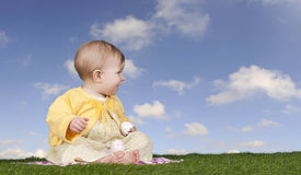 Little baby girl with easter eggs Royalty Free Stock Image