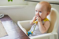 Little baby girl sitting in high chair in cafe. Restaurant or at home royalty free stock photo
