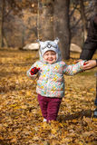 The little baby girl standing in autumn leaves Stock Photography