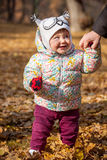 The little baby girl standing in autumn leaves Royalty Free Stock Photos