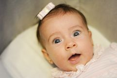 Little baby girl with surprise expression on her face stock photography