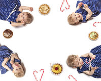 Little baby girl with sweets Royalty Free Stock Images