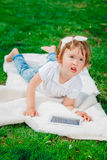 Little baby girl with Tablet Royalty Free Stock Images