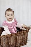 Little baby girl with teddy bear Stock Photo