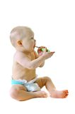 Little baby girl with teething brush Stock Photo