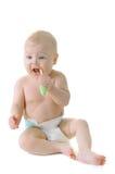 Little baby girl with teething brush Stock Image