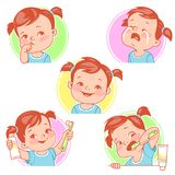 Baby teeth set. Little baby girl with tooth brush and toothpaste. Teething. Toothache. Baby crying for pain. First tooth. Happy baby smile. Healthy teeth. First Royalty Free Stock Images