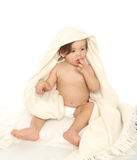 Little baby girl with towel Royalty Free Stock Photography