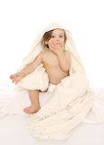 Little baby girl with towel Stock Photography
