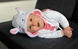 Little baby girl wearing a cute hat with ears Royalty Free Stock Photos