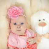 Little baby girl wearing pink knitting dres Royalty Free Stock Photos