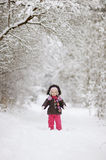 Little baby girl at winter Royalty Free Stock Images