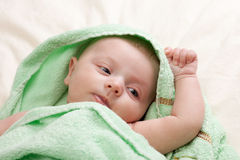 Little Baby Girl Wrapped in Towel Royalty Free Stock Photos